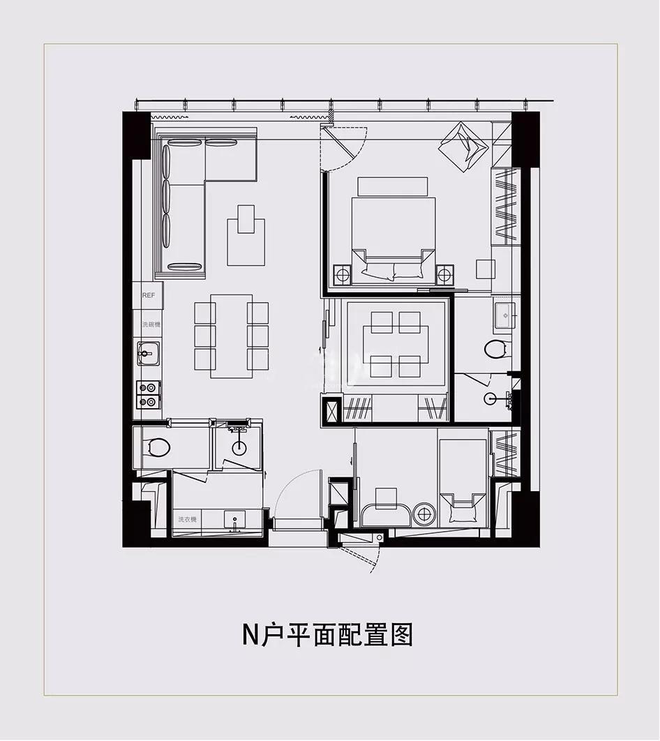 涵碧楼酒店式公寓  3室1厅1厨2卫