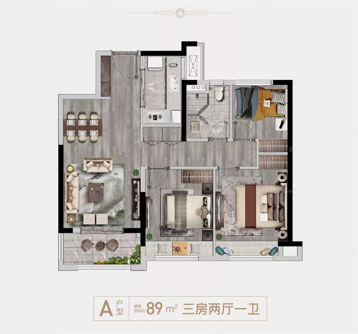 龙湖・春江悦茗  3室2厅1厨1卫