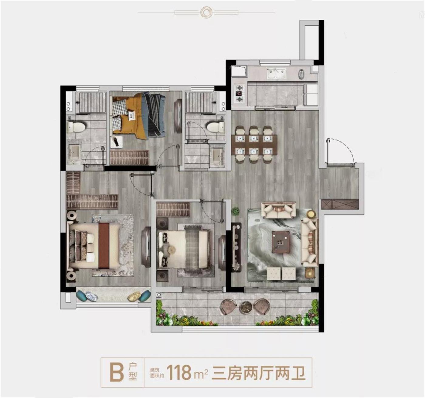 龙湖・春江悦茗  3室2厅1厨2卫