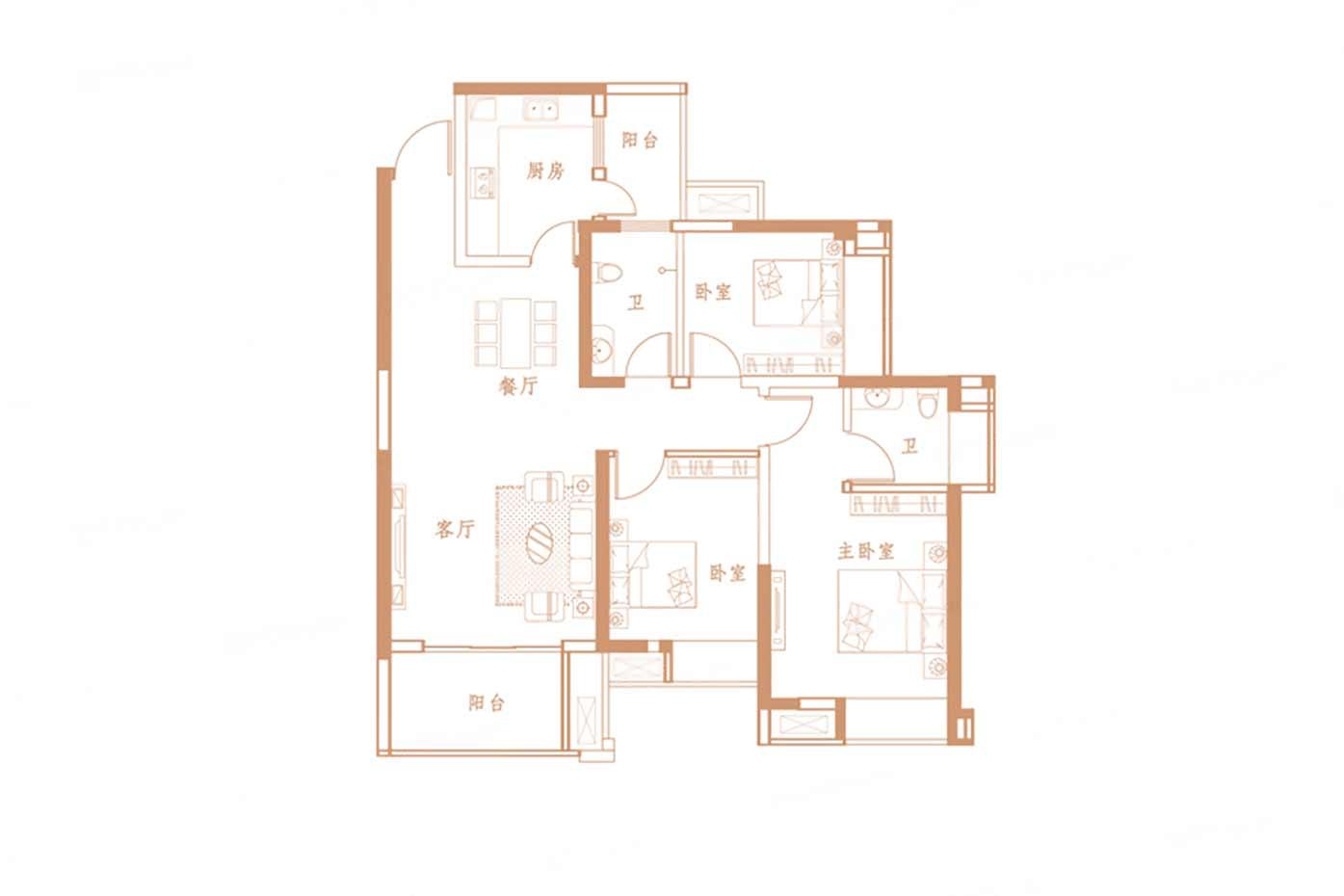 优山美域三期  3室2厅1厨2卫