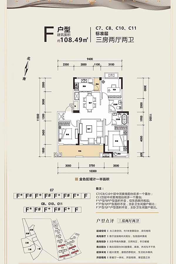 玖域壹品  3室2厅1厨2卫