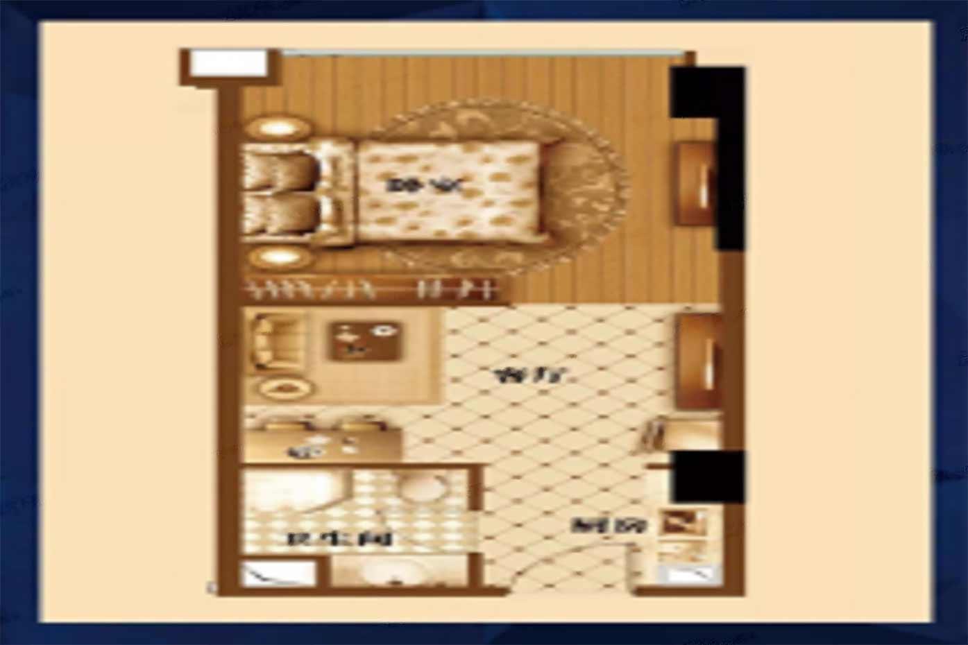 鹰潭大厦  1室2厅1厨1卫