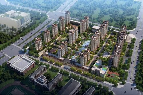 景德镇新房楼盘中式园林恒大珑庭鸟瞰效果图