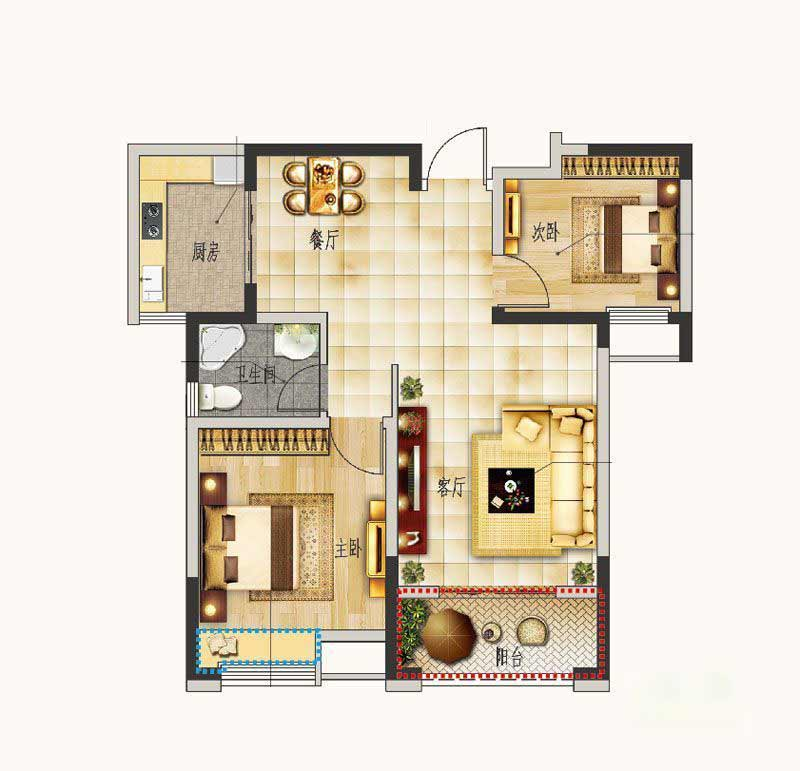 圣联东方早城  2室2厅1厨1卫