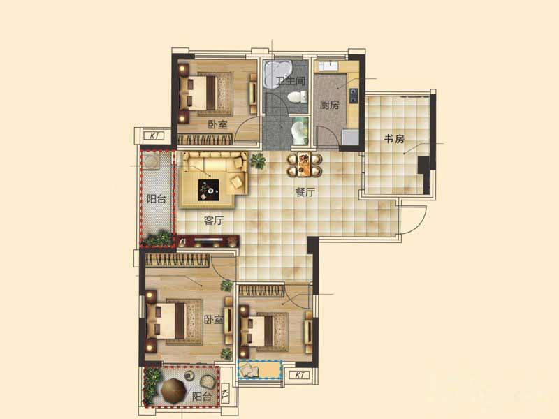 圣联东方早城  4室2厅1厨1卫