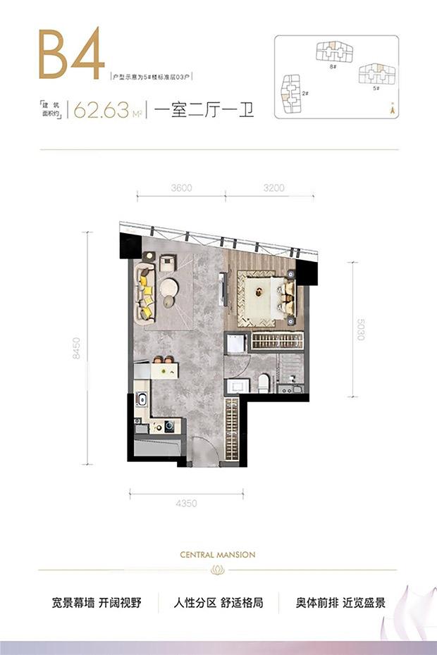 水晶·汇溪广场  1室2厅1厨1卫