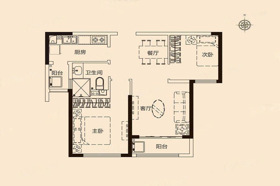 恒大滨江  2室2厅1厨1卫