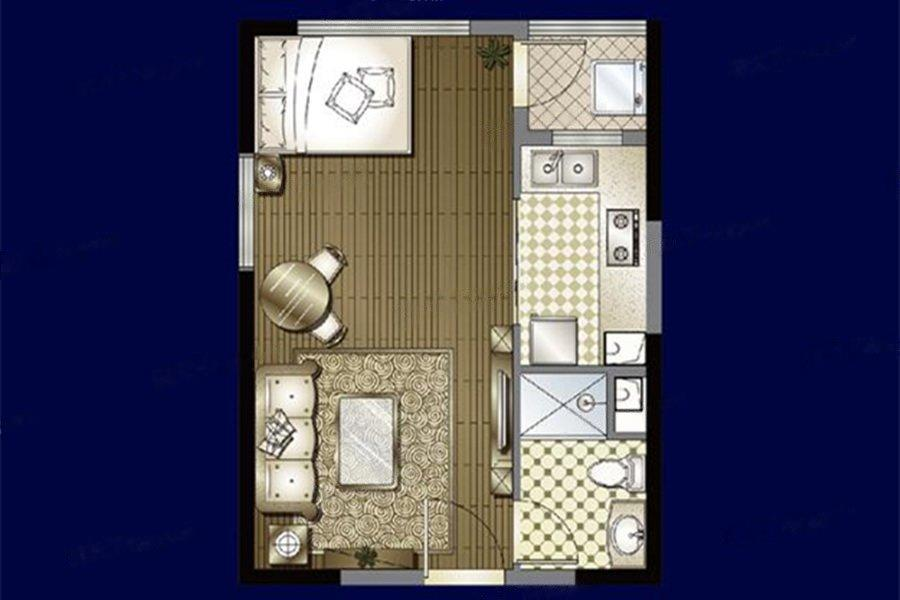 恒大滨江  1室1厅1厨1卫