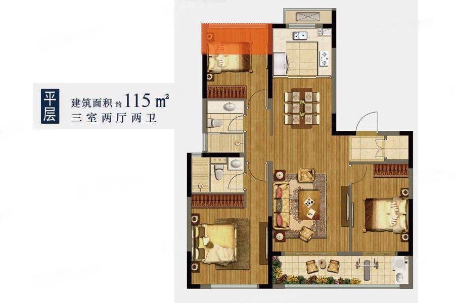 龙湖春江郦城  3室2厅1厨2卫