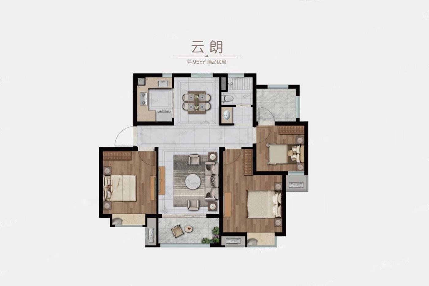 中海云麓公馆  3室2厅1厨1卫