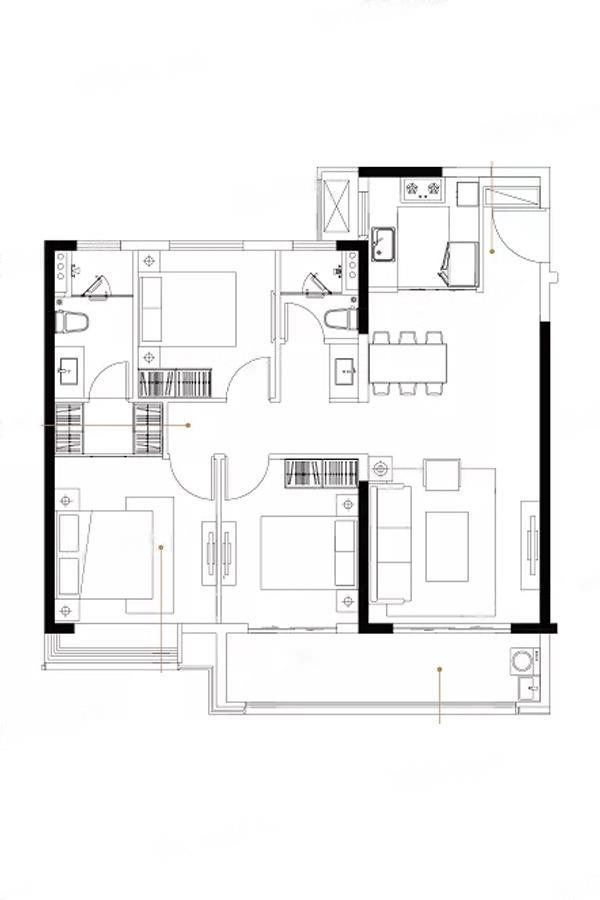 云逸都荟花园西区  3室2厅1厨2卫