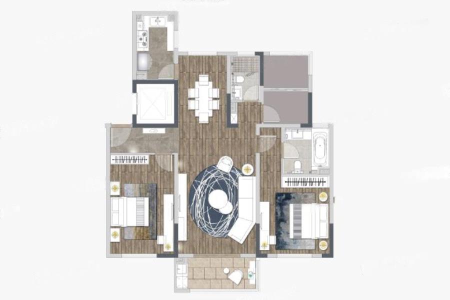 仁恒公园世纪  2室2厅1厨2卫