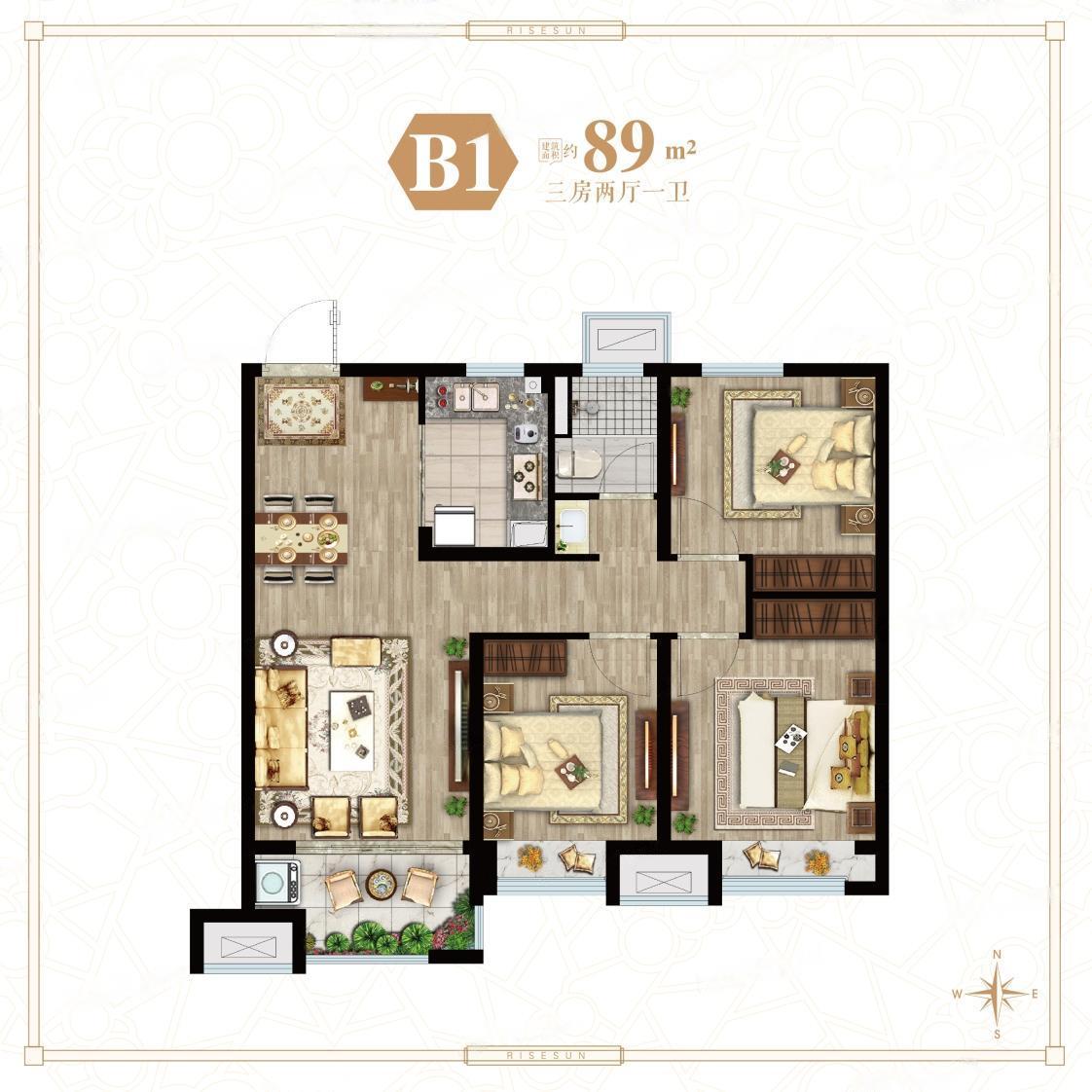 荣盛花语馨城  3室2厅1厨1卫
