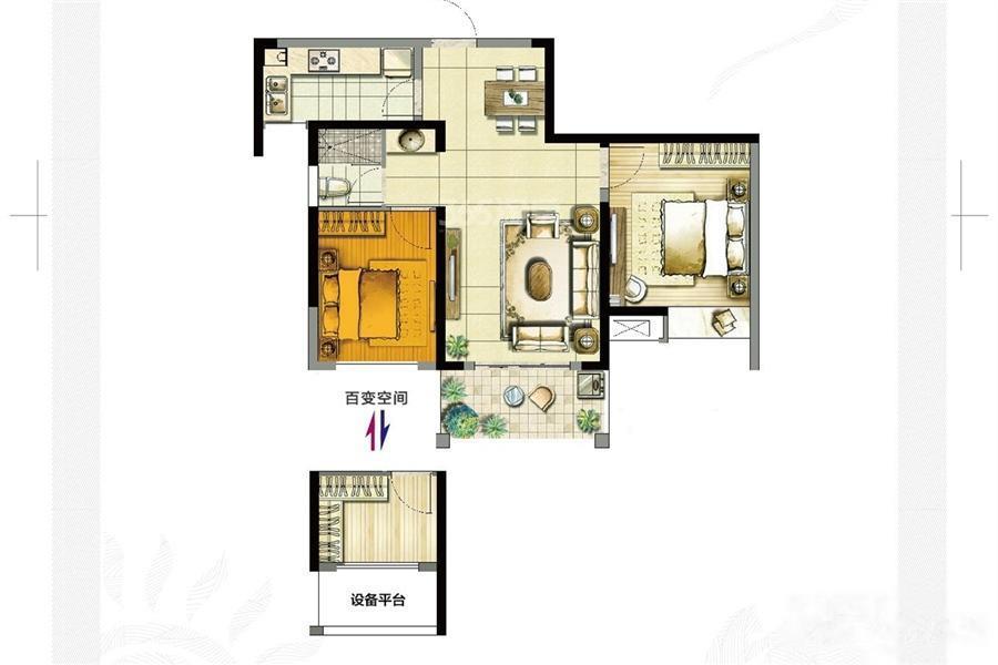 启迪方洲  2室2厅1厨1卫