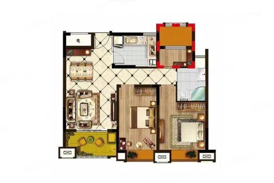 创源龙樾  2室2厅1厨1卫