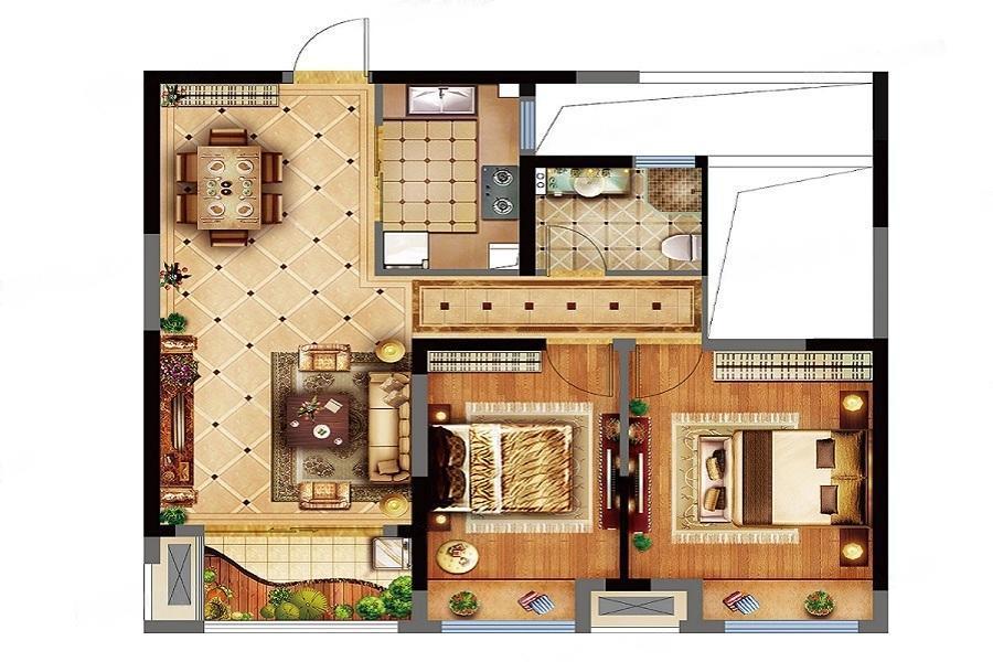 中国铁建青秀城  2室2厅1厨1卫