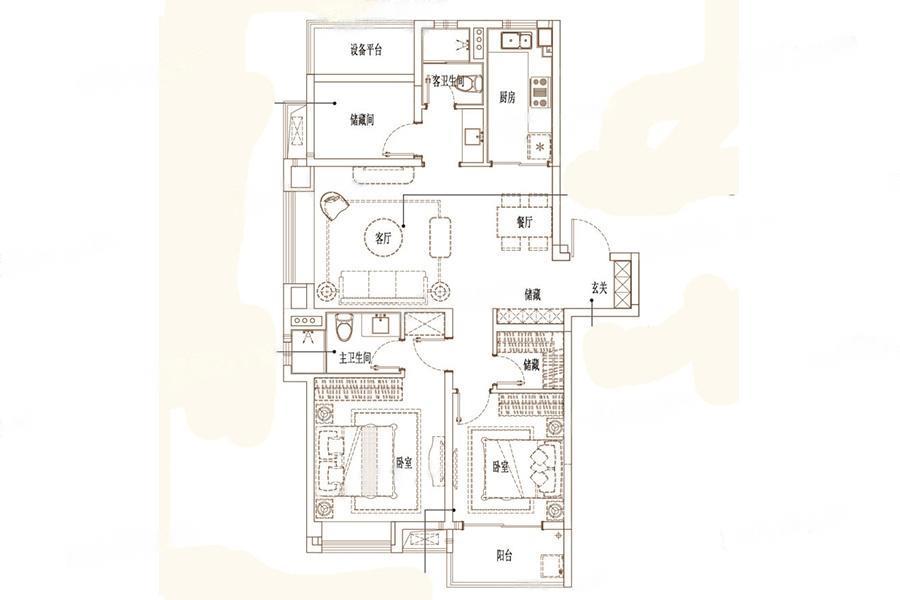 万科金域东方  3室2厅1厨2卫
