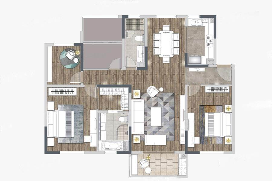 仁恒公园世纪  3室2厅1厨2卫