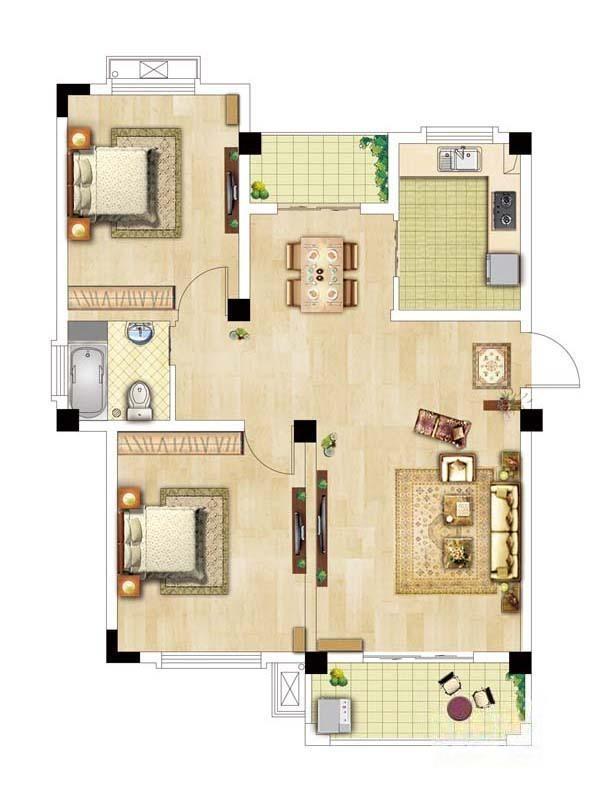恒建金陵美域  2室2厅1厨1卫
