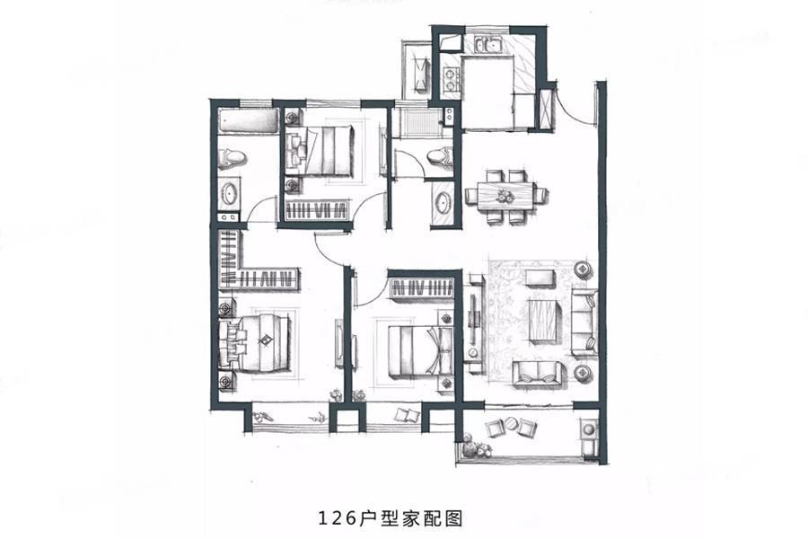 金地・风华国际  3室2厅1厨2卫