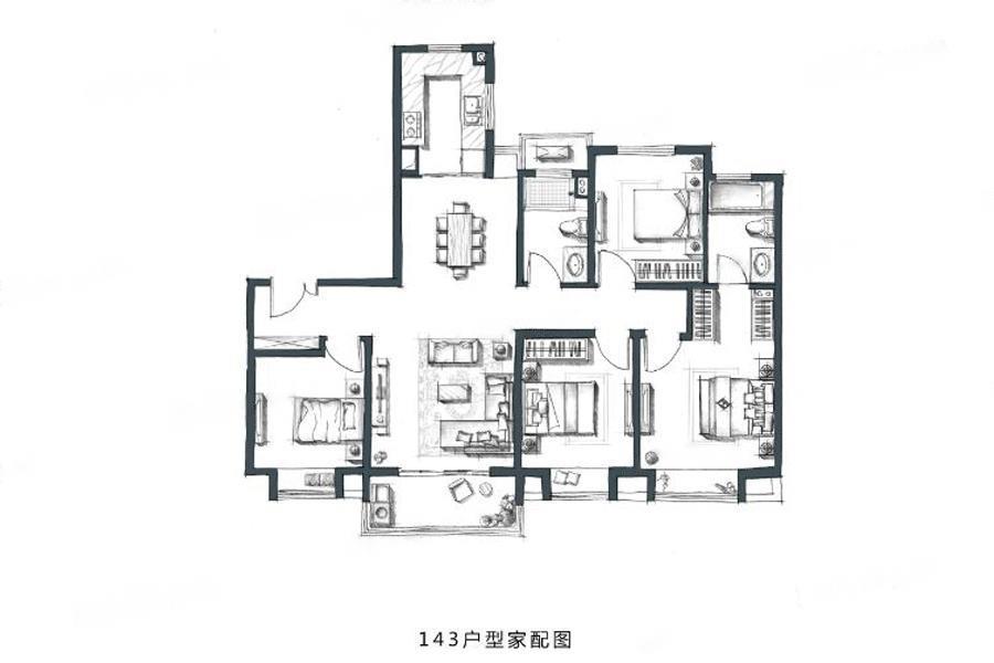 金地・风华国际  4室2厅1厨2卫