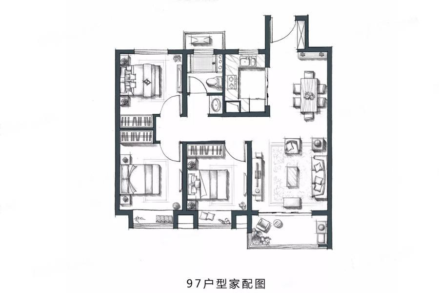 金地・风华国际  3室2厅1厨1卫