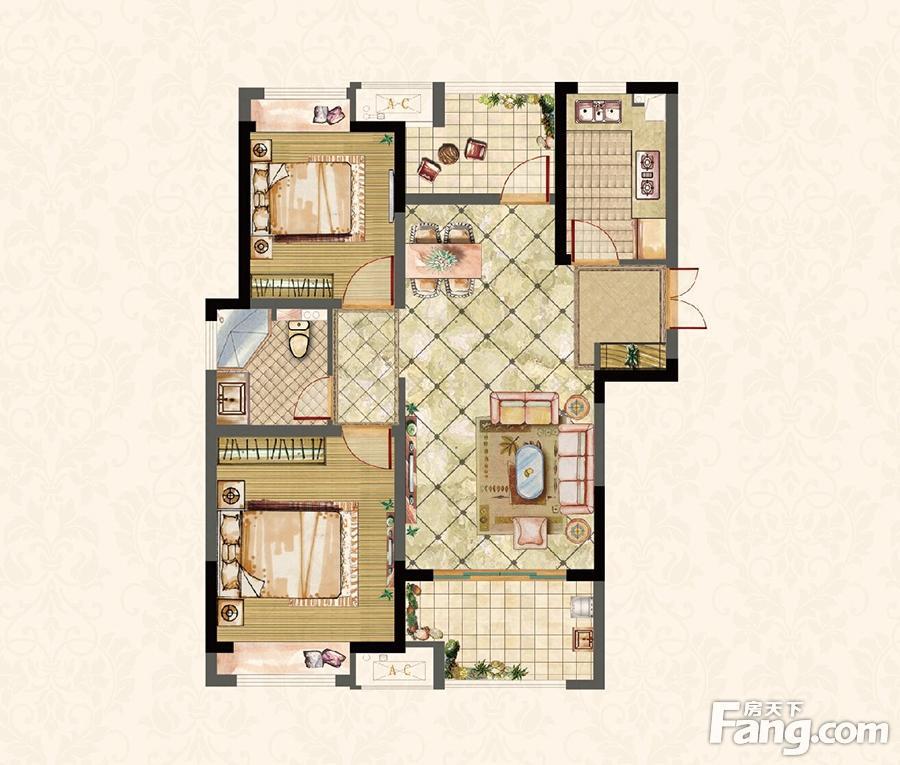 建屋天著  2室2厅1厨1卫