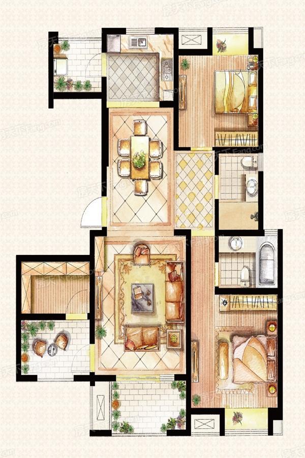 建屋吴郡半岛  2室2厅1厨2卫