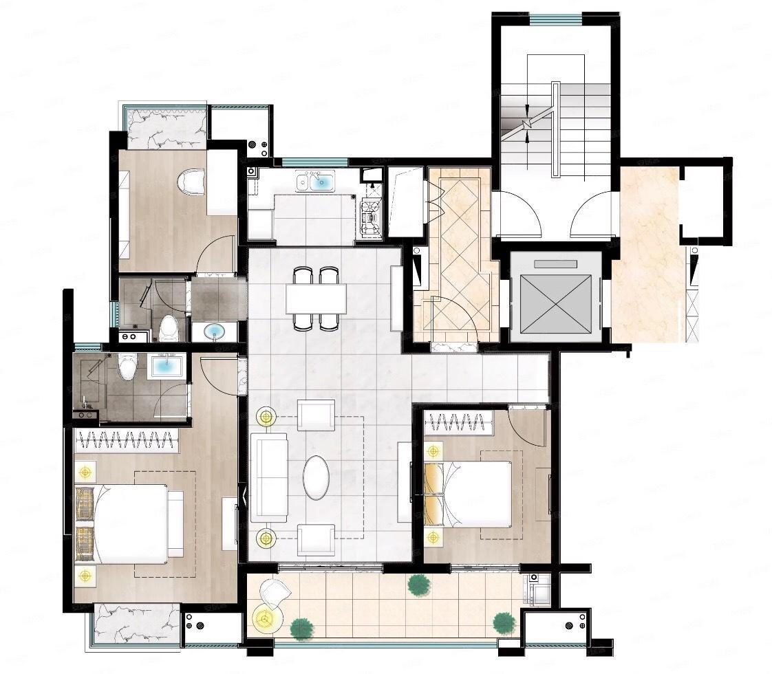 印江南花园  3室2厅1厨2卫