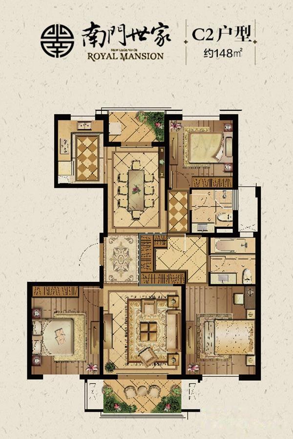 南门世家  3室2厅1厨2卫