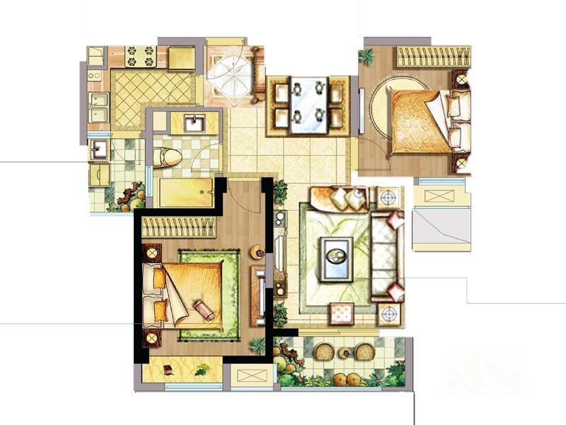 天誉生活广场  2室1厅1厨1卫