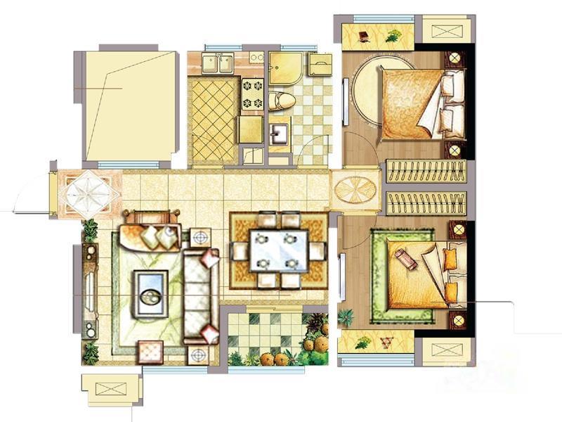 天誉生活广场  2室2厅1厨1卫