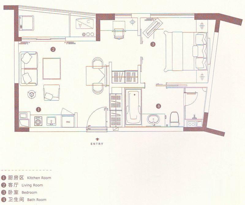 苏州太湖城仕高尔夫酒店公寓  1室1厅1厨1卫