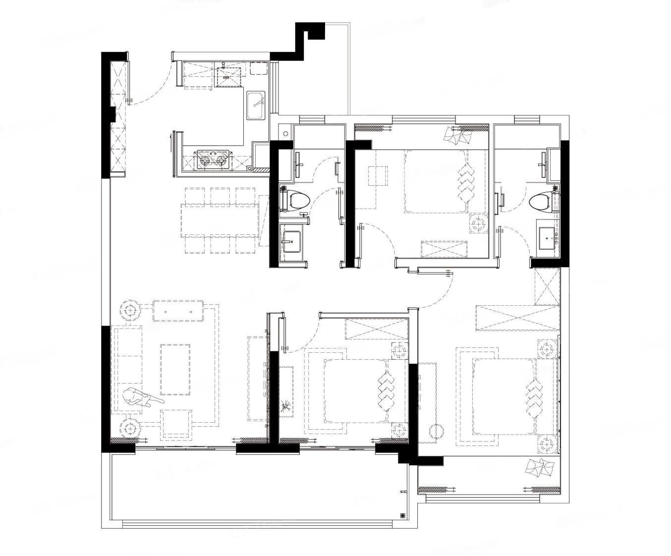 美的云筑  3室2厅1厨2卫