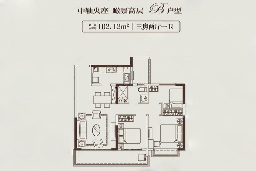 苏州恒大悦珑湾  3室2厅1厨1卫