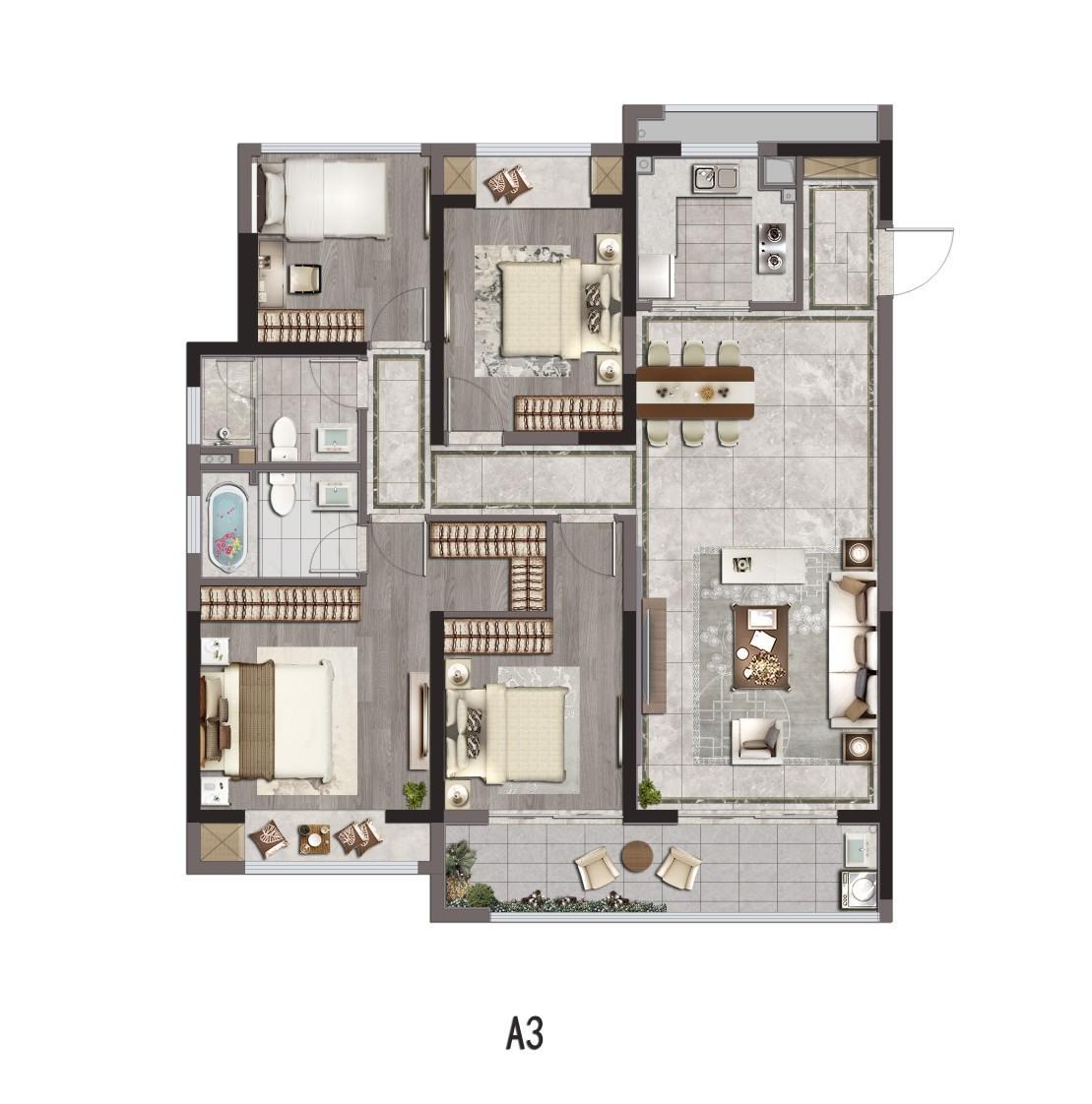 荷岸晓风花园  4室2厅1厨2卫