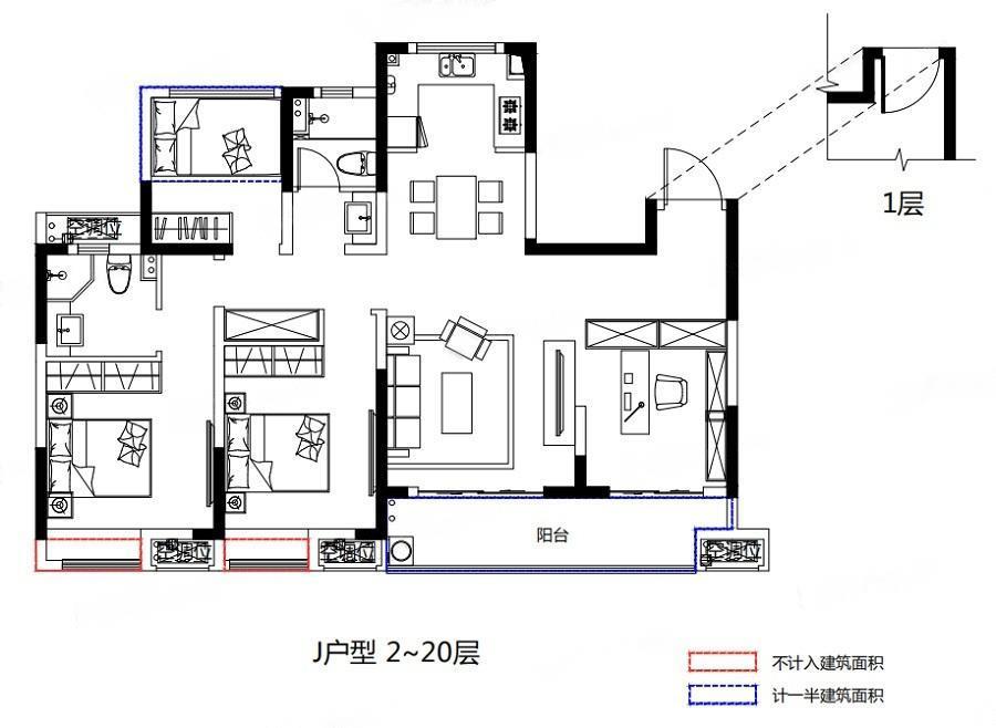 禹洲嘉誉山  4室2厅1厨2卫