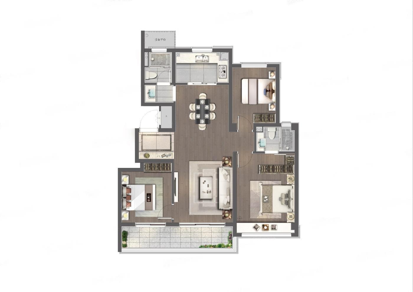 前山澜庭  3室2厅1厨2卫