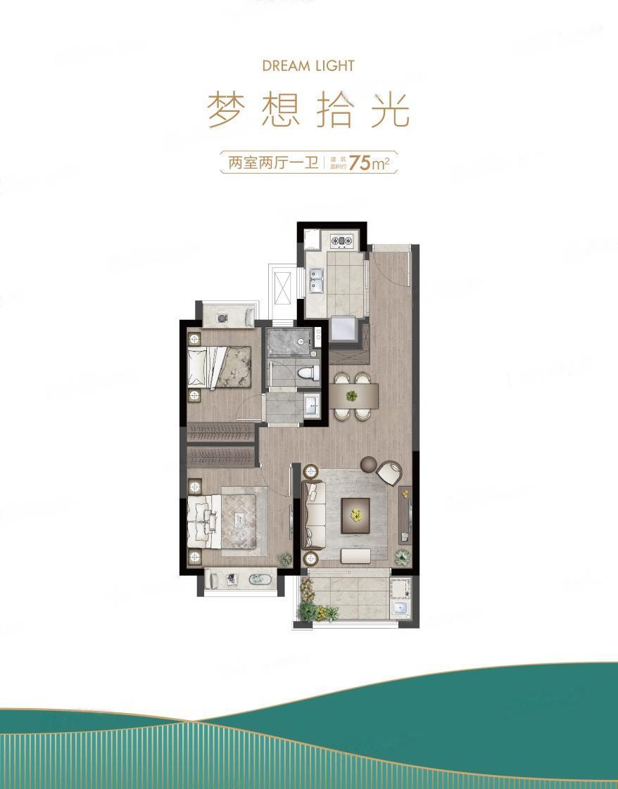 西江瑞府  2室2厅1厨1卫