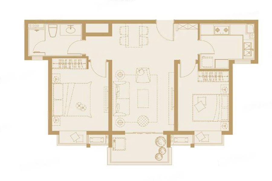 嘉誉山  2室2厅1厨1卫