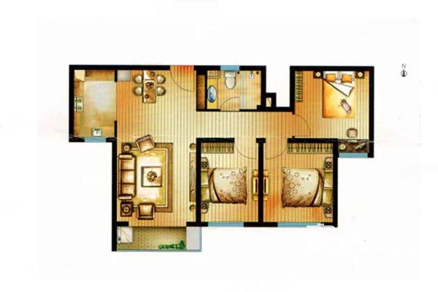 中航樾公馆  3室2厅1厨1卫