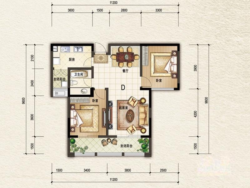 阳光帝景  2室2厅1厨1卫
