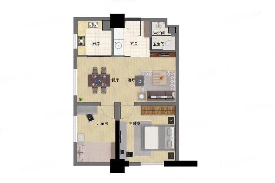 江畔国际  2室1厅1厨1卫