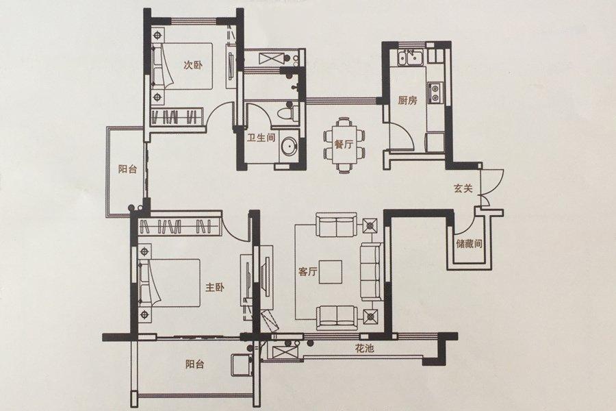山水云房  2室2厅1厨1卫