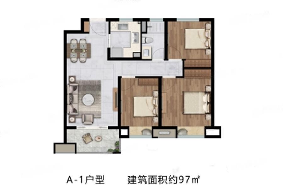 中海左岸澜庭  3室2厅1厨1卫
