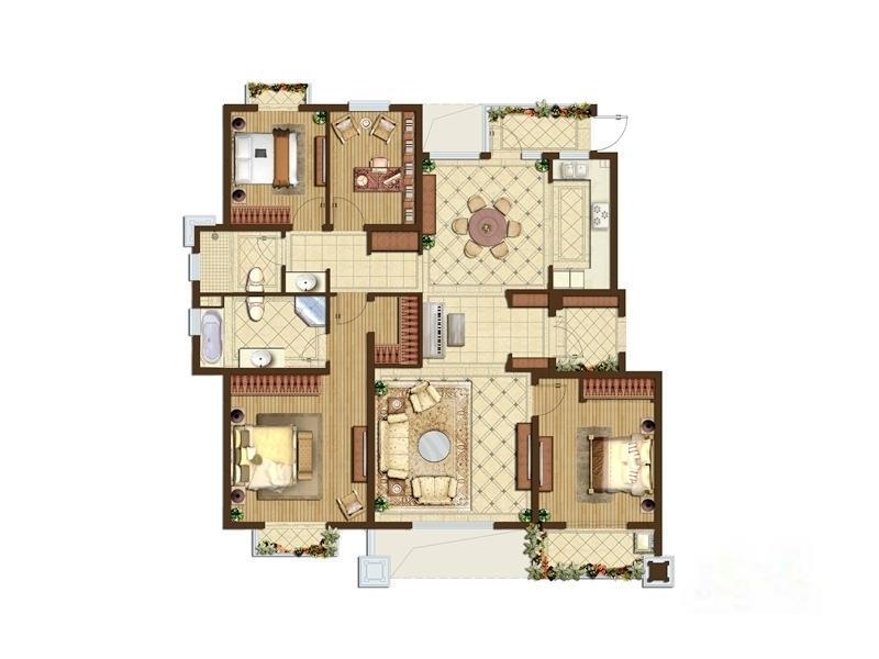 星叶羊山湖花园  4室2厅1厨2卫