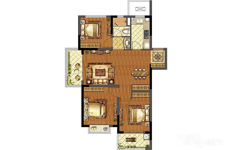 中建国熙台  3室2厅1厨1卫