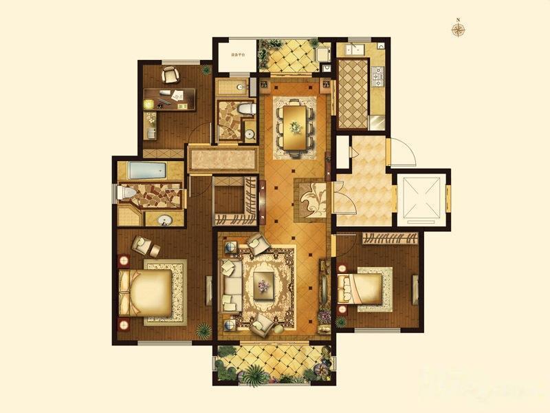 复地御钟山  3室2厅1厨2卫