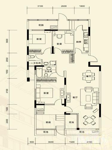 山水云房  4室2厅1厨2卫