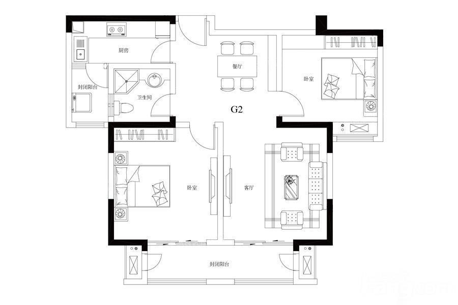 观山悦  2室2厅1厨1卫